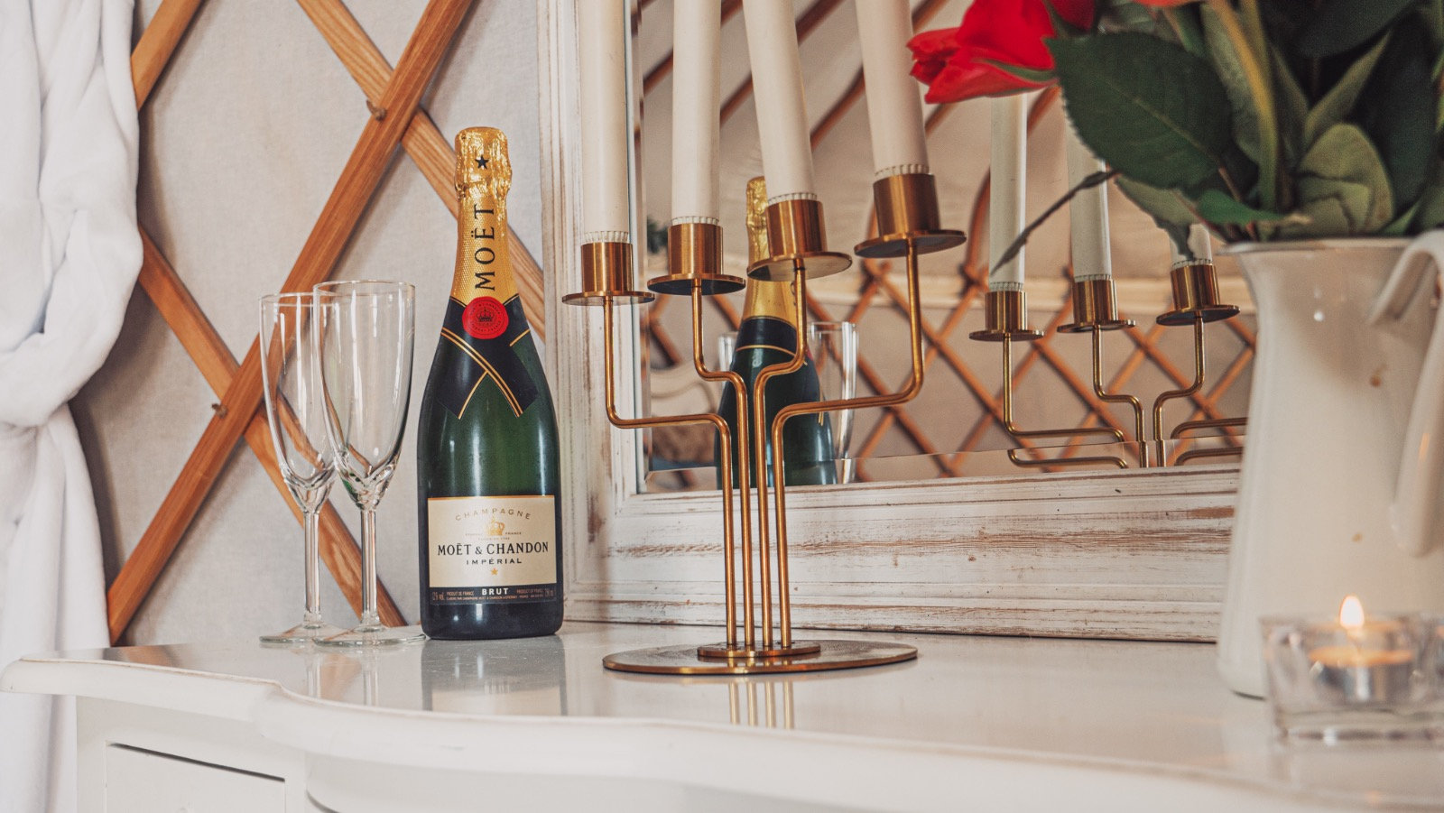 moet champagne in a luxury glamping yurt