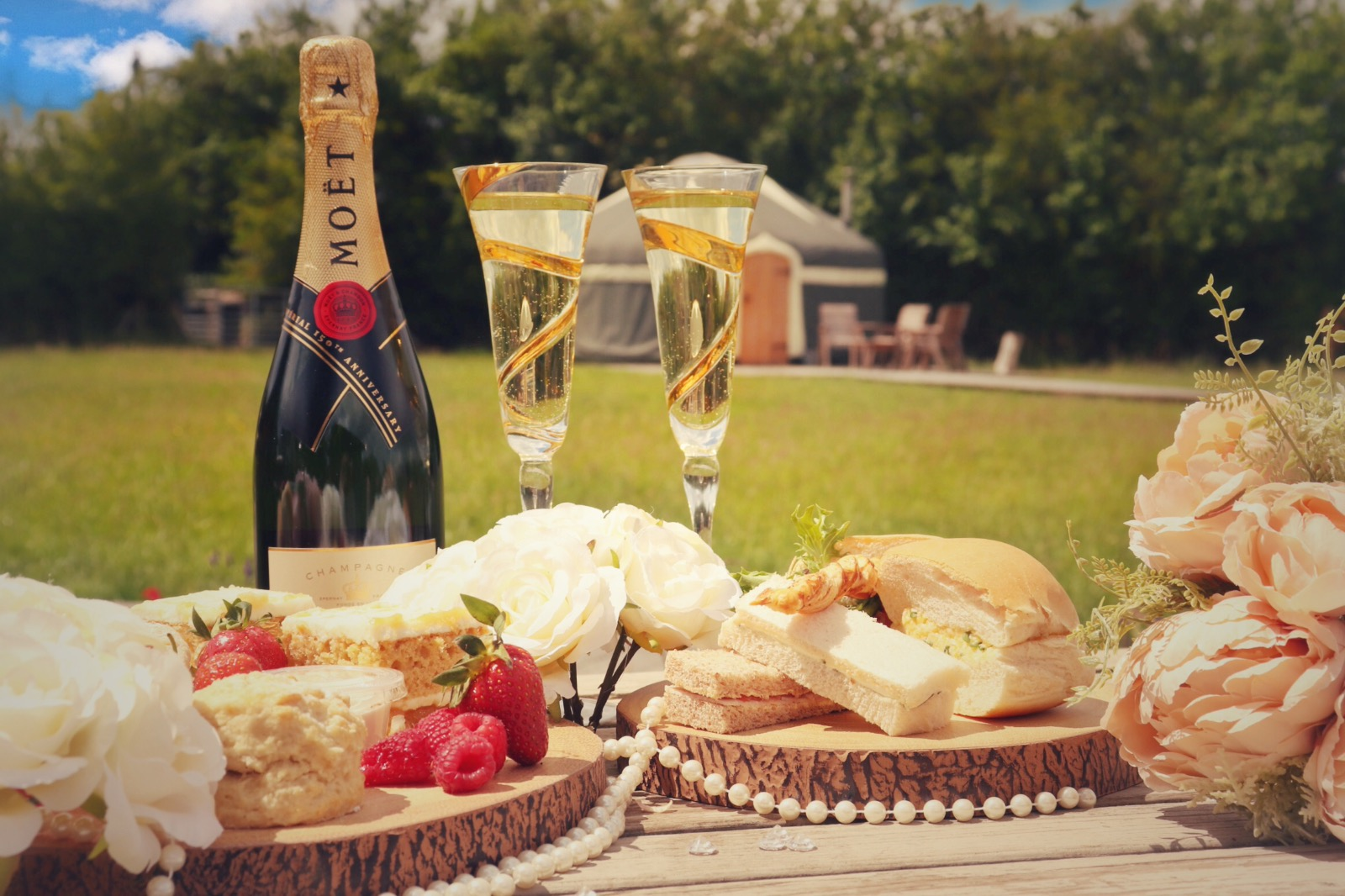 Moet champagne and afternoon tea on a glampsite in Staffordshire, UK
