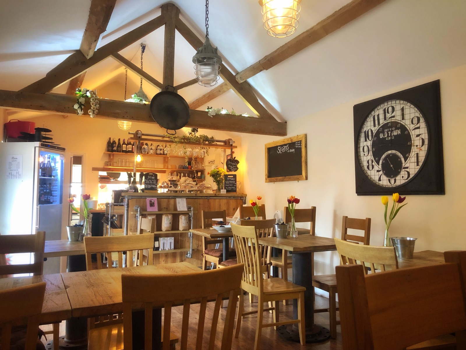 Sloans kitchen rustic cafe/bistro with exposed beams, small intimate venue