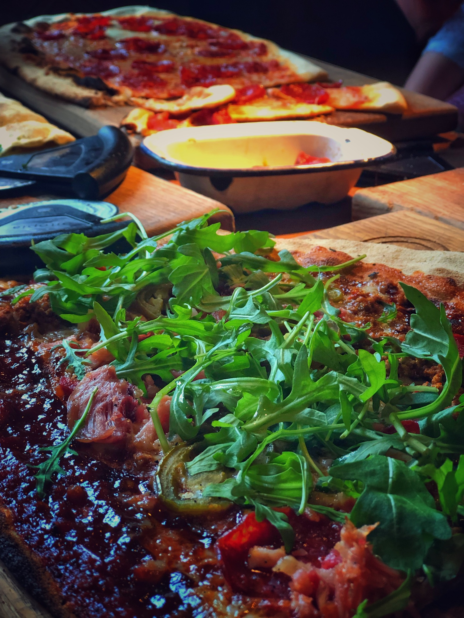 Tasty rocket topped pizza, lunch, dinner