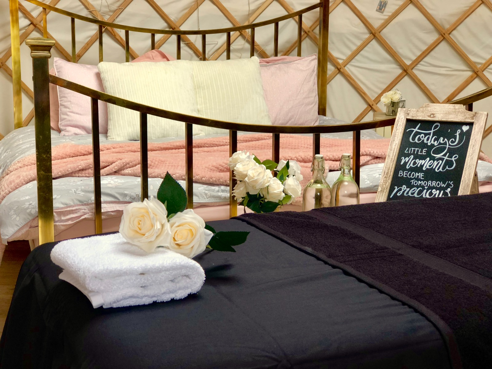 massage treatment in a luxury glamping yurt