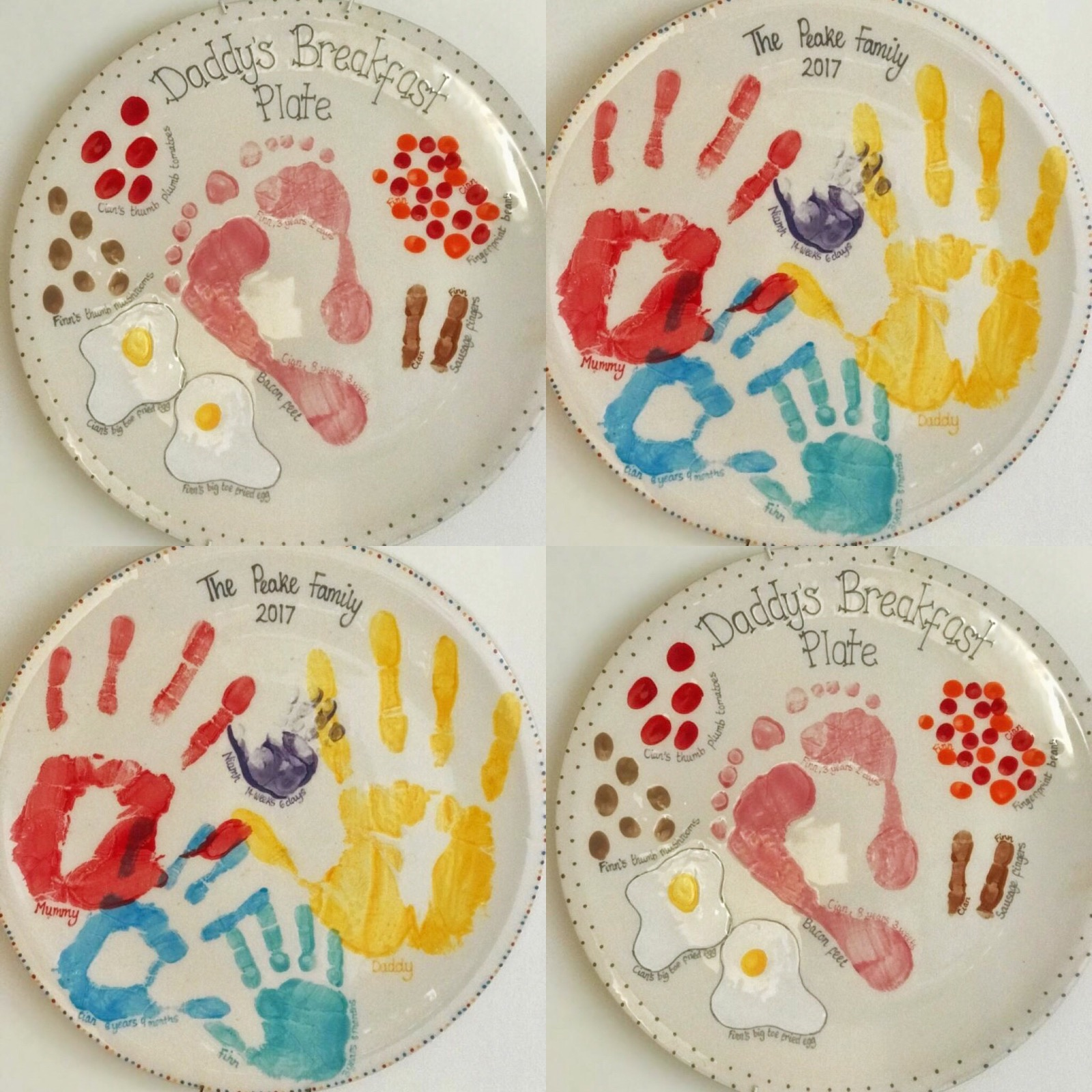 Hand and footprint painted plates