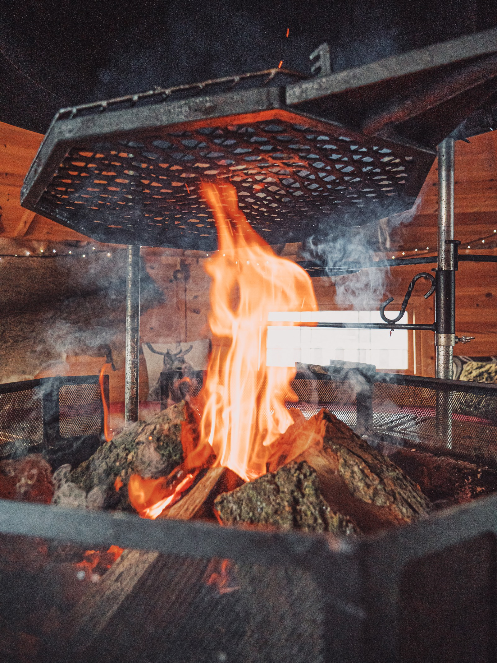fire in Finnish bbq hut