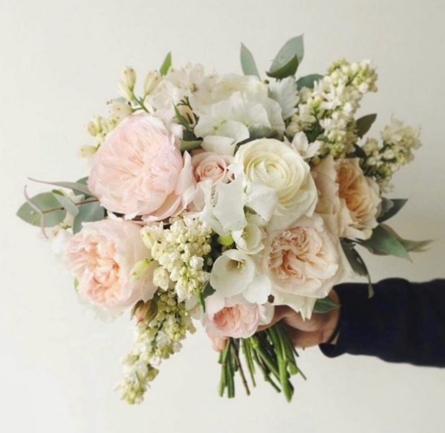 beautiful fresh flowers pink peonies and white roses